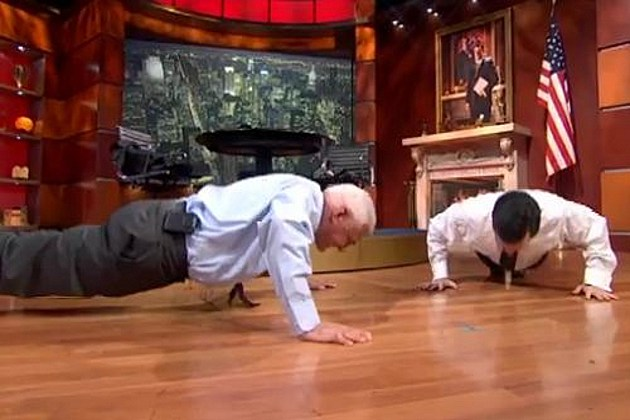 Push up contest Stephen Colbert Bob Lutz