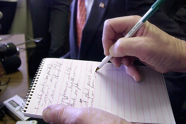 notebook writing Kerry Officially Files for New Hampshire Primary, Launches Bus Tour