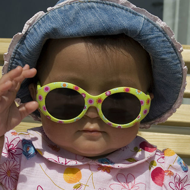 Baby wearing sunglasses