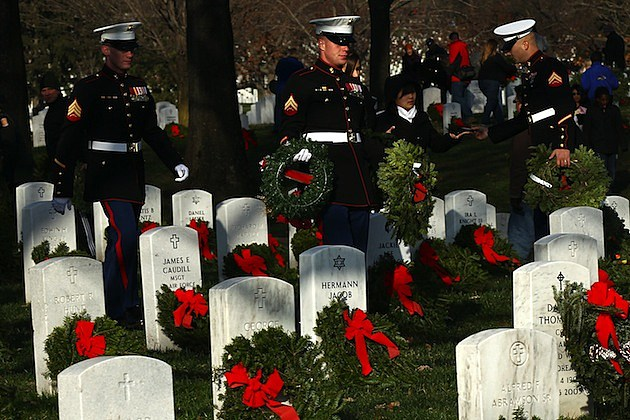 Thousands Of Wreaths Placed At Arlington National Cemetery Ahead Of The Holidays