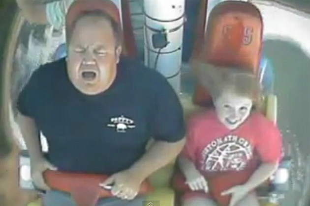 Dad Screams Like a Little Girl on Amusement Park Ride