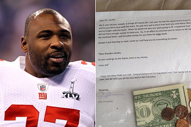 Brandon Jacobs Giants fan letter