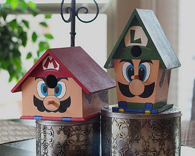 Mario and Luigi Birdhouses