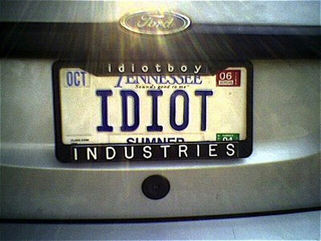 Idiot License Plate