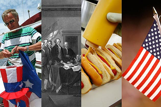 Fourth of July hot dogs mustard declaration of independence american flag red, white and blue