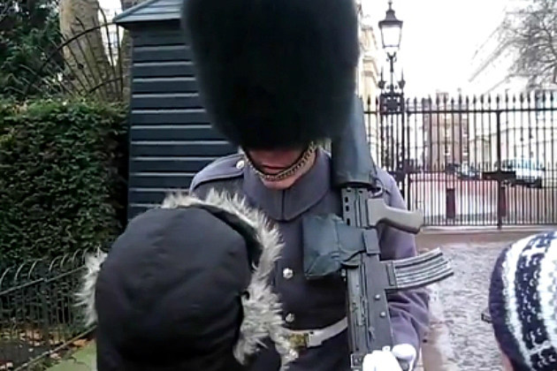 British Guard Screams at Little Kid