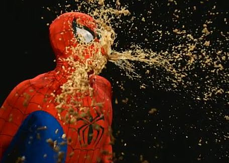 Spider-man throws up