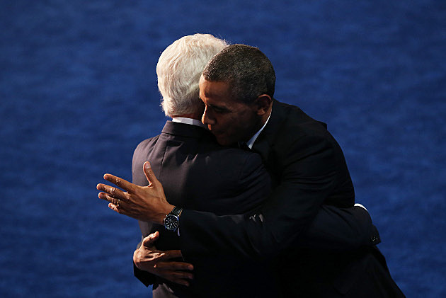 Obama Clinton Hug