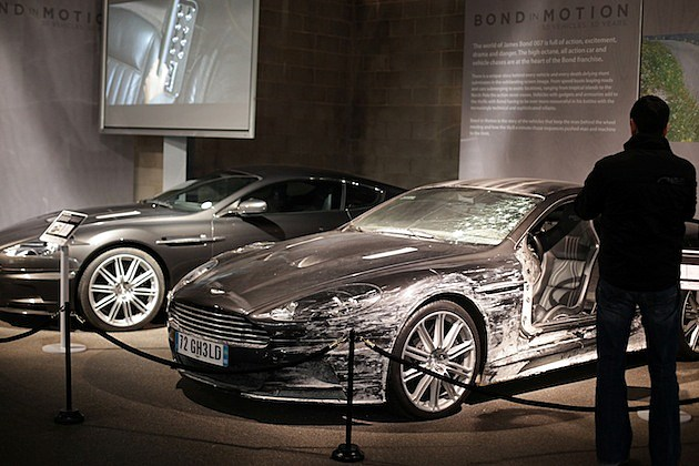 Cars On View At The Bond In Motion Exhibition At Beaulieu Motor Museum aston martin quantum of solace crashed wrecked