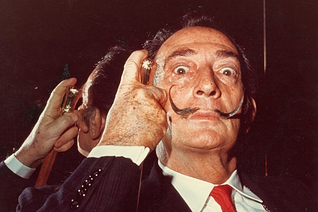 Salvador Dali Holds His Cane