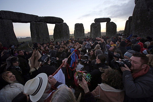 Druids at Stonehenge in England