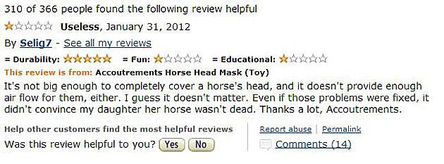 useless horse mask