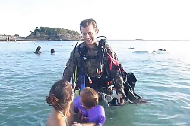 Soldier Surprise Scuba Dive